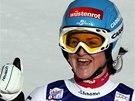 Elisabeth G�rglov� se raduje z v�t�zstv� v superob��m slalomu v Cortin�