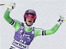 Maria Höflová-Rieschová v superobřím slalomu v Cortině d'Ampezzo.