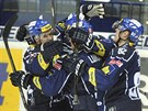 Kladenští hokejisté se radují z gólu
