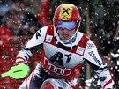 Rakouský slalomář Marcel Hirscher na sjezdovce v Kitzbühelu.