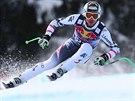 Rakouský lyžař Hannes Reichelt během sjezdu v Kitzbühelu