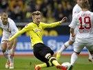 Marco Reus z Dortmundu (ve žlutém) v boji o balón během duelu proti Augsburgu