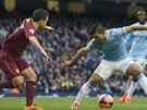 Momentka z duelu Anglického poháru mezi Manchesterem City a Watfordem - na...