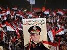Mezi demonstranty byla �ada p��znivc� Abdala Fataha al-Sisiho, o kter�m se...