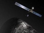 Ilustrace sondy Rosetta nad kometou Čurjumov-Gerasimenko