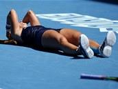 HORIZONTÁLNÍ ŠTĚSTÍ. Dominika Cibulková po vítězství  ve čtvrtfinále Australian