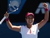 VÍTĚZNÝ ÚSMĚV. Li Na v semifinále Australian Open.