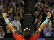 TRIUMF. Rafael Nadal po vítězství v semifinále Australian Open.