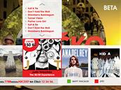 Ukázka rozhraní HbbTV na televizi Óčko, kde je možné procházet nabídku...