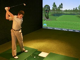 Golfový simulátor v Golf Clubu Horal ve Velkých Karlovicích, Beskydy