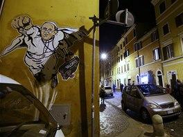Grafitti pape�e Franti�ka na vatik�nsk� zdi