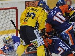 Momentka z hokejov�ho derby �st� nad Labem - Litom��ice,