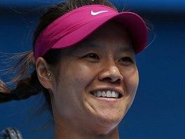 Čínská tenistka Li na se raduje z postupu do semifinále Australian Open.