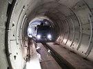 Pokračující práce na stavbě prodloužené linky A pražského metra (30.1.2014)