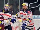 Tomáš Divíšek (vpravo) ještě v dresu Chomutova v duelu se Spartou, kam nyní...