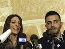 Sestra a bratr Kercherové na tiskové konferenci po verdiktu soudu (30. ledna)