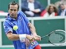 BEKHEND. Radek Štěpánek v utkání Davis Cupu proti Nizozemsku.