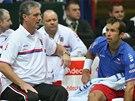 RADY NEHRAJÍCÍHO KAPITÁNA. Radek Štěpánek a Jaroslav Navrátil (vlevo) v utkání