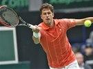 CO NEJP�ESN�JI. Robin Haase v utk�n� Davis Cupu proti �ech�m.