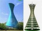 Studie budoucí podoby nové olomoucké výškové budovy (vlevo) a návrhy technického řešení vnitřní konstrukce (uprostřed) a pláště (vpravo).