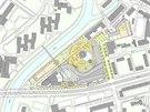 Mapa pl�novan�ho kampusu Moravsk� vysok� �koly a jeho okol�.