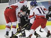 �eské hokejistky (v bílém) si zahrály p�ípravný duel s Japonskem.