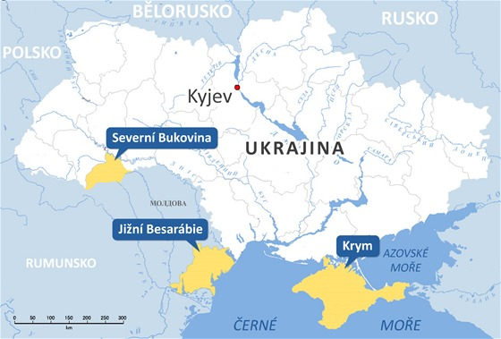 Ukrajina s regiony Ji�n� Besar�bie, Severn� Bukovina a Krym