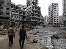 Rozstřílené ulice Homsu (1. února 2014)