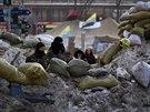 Demonstranti v Kyjevě zpevňují své barikády zmrzlým a špinavým sněhem (5. února...