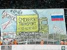 Transparent fanoušků při východočeském derby mezi Hradcem Králové a Pardubicemi.