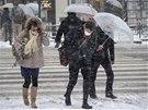 Japonci se potýkají se silným sněžení i větrem (Tokio, 8. února 2014)