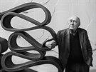 Sochař Stanislav Kolíbal se ve svém pražském ateliéru opírá o kovovou plastiku,...