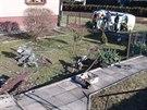 Celkový pohled na zahradu v Těrlicku na Karvinsku, kterou poničila Škoda...