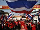 Protivládní demonstranti v Bangkoku (31. ledna 2014)