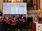 Momentka ze slavnostního losu utkání Fed Cupu tenistek Španělsko - Česko.