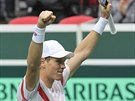 Tomáš Berdych právě zajistil českým tenistům postup do čtvrtfinále Davis Cupu.