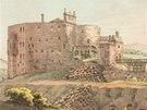 Jeden z nejstarších dochovaných obrazů hradu Krakovec. Takto vypadal v roce 1788, několik let po ničivém požáru.