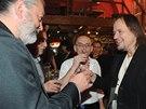 Daniel H�lka slavil s kolegou Tom�em Traplem (uprost�ed) jeho narozeniny.