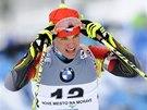 Český biatlonista Michal Krčmář na mistrovství Evropy v Novém městě.