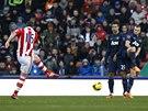 LET� DO BR�NY. Charlie Adam ze Stoke City sk�ruje proti Manchesteru United.
