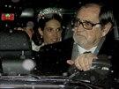 Nevěsta Tatiana Santo Domingová přijíždí do kostela (1. února 2014).