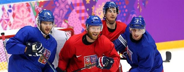 První spole�ný trénink �eské hokejové reprezentace na hrách v So�i. (7. února...
