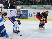 Momentka z duelu Brno (modrobílá) vs. Hradec Králové