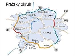 Vizualizace Pra�sk�ho okruhu a jeho nedostav�n�ch ��st�.