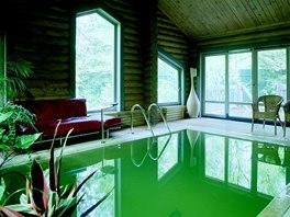 Vnitřní bazén funguje po celý rok. Díky dřevu není nutná žádná speciální