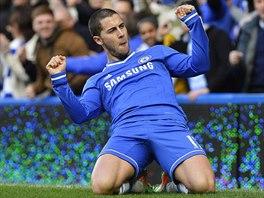 STŘELEC CHELSEA. Eden Hazard se raduje ze svého druhého gólu proti Newcastlu.