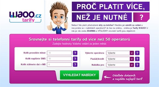 Porovnejte si tarify a volejte levněji díky srovnávači Tarify.WAOO.cz