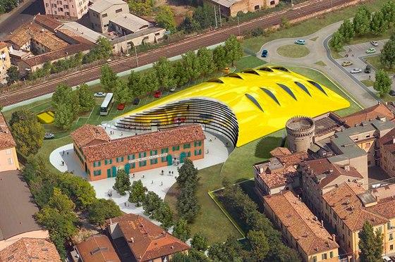 Letecký pohled na areál Muzea Ferrari vModeně