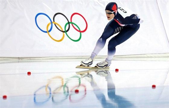 Česká rychlobruslařka Karolína Erbanová při olympijském závodu na 1000 metrů....
