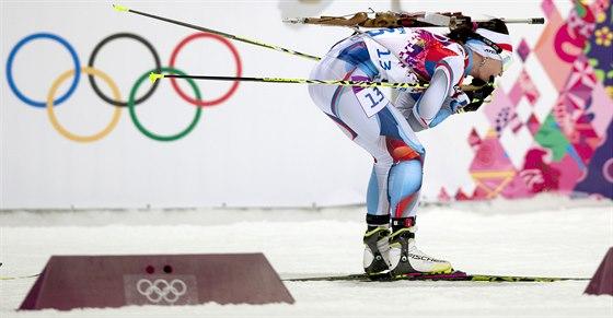 Česká biatlonistka Veronika Vítková v olympijském závodu na 12,5 kilometru s...